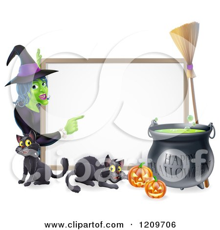 Cartoon of a Witch Pointing to a White Board Sign with Black Cats Halloween Pumpkins a Cauldron and a Broomstick - Royalty Free Vector Clipart by AtStockIllustration