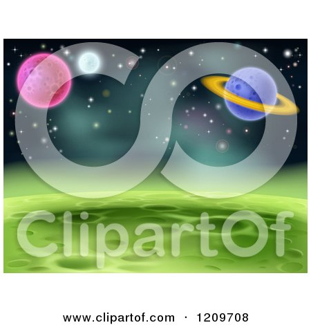 Cartoon of a Green Cratered Foreign Planet Landscape with Other Planets and Stars - Royalty Free Vector Clipart by AtStockIllustration