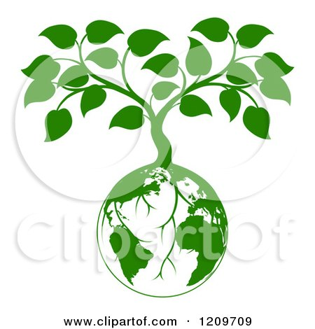 Clipart of a Green Planet Earth Globe and Tree with Roots Growing from It - Royalty Free Vector Illustration by AtStockIllustration