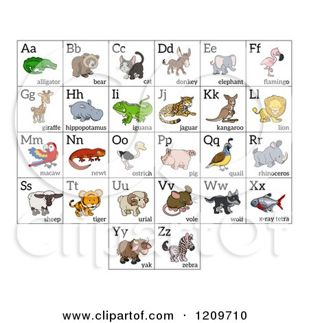 Cartoon of Alphabet Letters with Animals - Royalty Free Vector Clipart by AtStockIllustration