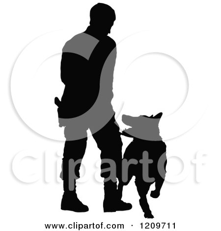 Clipart of a Black Silhouetted Police Officer Training with His K9 Dog 2 - Royalty Free Vector Illustration by Maria Bell