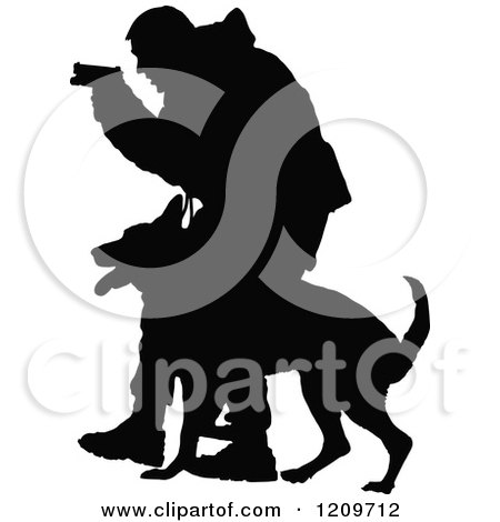 Clipart of a Black Silhouetted Police Officer Holding a Pistol and Training with His K9 Dog - Royalty Free Vector Illustration by Maria Bell