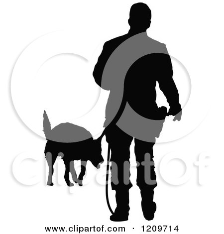Clipart of a Black Silhouetted Police Officer Training with His K9 Dog 3 - Royalty Free Vector Illustration by Maria Bell