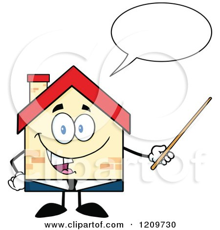 Cartoon of a Happy Home Businessman Mascot Talking and Holding a Pointer Stick - Royalty Free Vector Clipart by Hit Toon