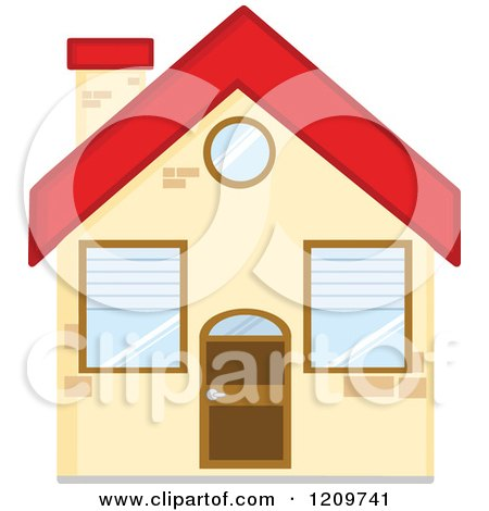 Cartoon of a Small Home with a Red Roof - Royalty Free Vector Clipart by Hit Toon