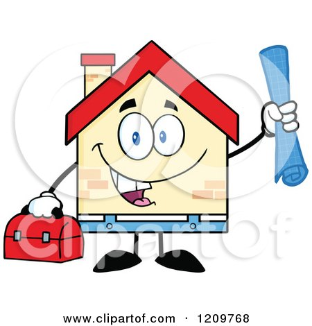 Cartoon of a Happy Home Mascot Worker Holding Blueprints and a Tool Box - Royalty Free Vector Clipart by Hit Toon