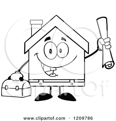 Cartoon of a Black and White Happy Home Mascot Worker Holding Blueprints and a Tool Box - Royalty Free Vector Clipart by Hit Toon