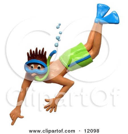 Clay sculpture of man snorkeling in green shorts Clipart Picture by Amy Vangsgard