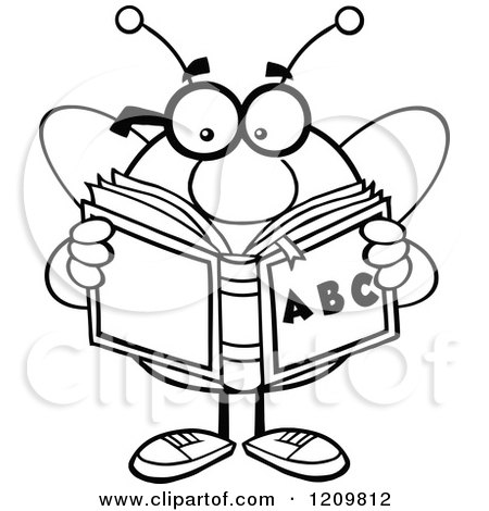 Cartoon Of A Black And White Bee Student Reading An Alphabet Book
