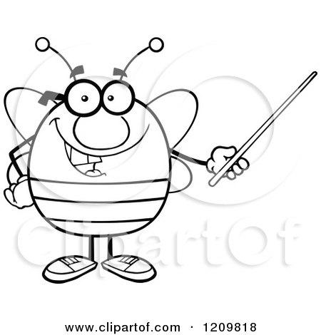 Cartoon Of A Happy Bee Teacher Using A Pointer Stick