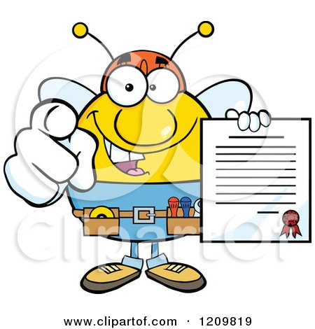 Cartoon of a Happy Worker Bee Mascot Holding a Contract and Pointing Outwards - Royalty Free Vector Clipart by Hit Toon