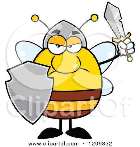 cartoon of a mad bee warrior holding a shield and sword royalty rh clipartof com warrior clipart warrior clip art images