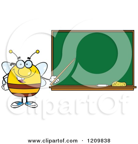 Cartoon of a Happy Bee Teacher Holding a Pointer Stick to a Chalk Board - Royalty Free Vector Clipart by Hit Toon