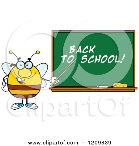 Cartoon of a Happy Bee Teacher Pointing to Back to School Text on a Chalkboard - Royalty Free Vector Clipart by Hit Toon