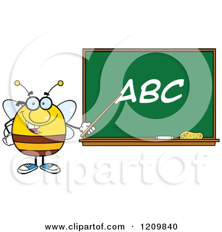 Cartoon of a Happy Bee Teacher Pointing to ABC on a Chalkboard - Royalty Free Vector Clipart by Hit Toon