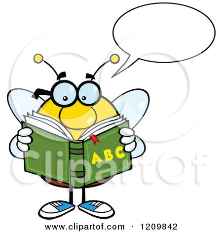 Cartoon of a Talking Bee Student Reading an Alphabet Book - Royalty Free Vector Clipart by Hit Toon