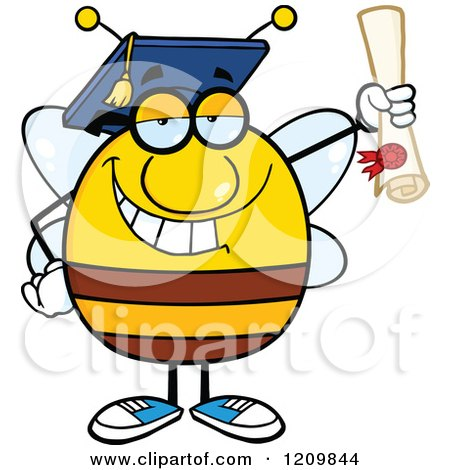Cartoon of a Happy Bee Student Graduate Hoding a Diploma - Royalty Free Vector Clipart by Hit Toon