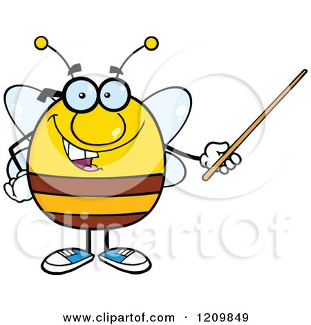 Cartoon of a Happy Bee Teacher Using a Pointer Stick - Royalty Free Vector Clipart by Hit Toon