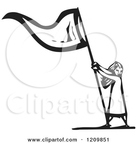 Clipart of a Girl Waving a Flag Black and White Woodcut - Royalty Free Vector Illustration by xunantunich