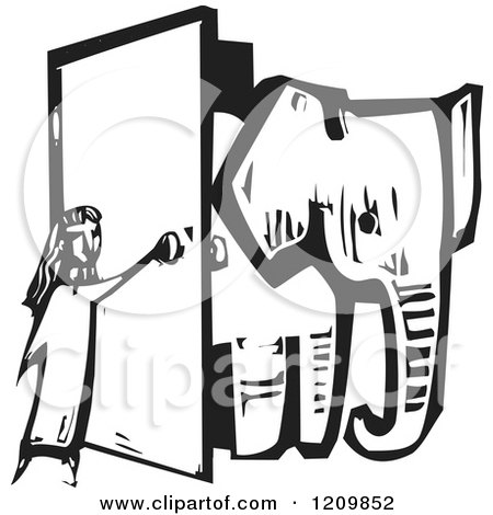 Clipart of a Girl Opening a Door and Letting an Elephant in a Room Black and White Woodcut - Royalty Free Vector Illustration by xunantunich