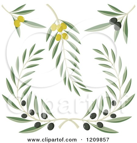 Clipart of Black and Green Olive Branches - Royalty Free Vector Illustration by Any Vector