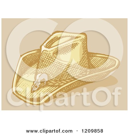 Clipart of a Sketched Stetson Cowboy Hat - Royalty Free Vector Illustration by Any Vector