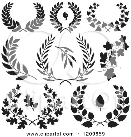 Clipart of Black and White Floral Wreaths and Branches - Royalty Free Vector Illustration by Any Vector