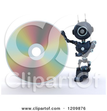 Clipart of a 3d Blue Android Robot with a Giant Disc - Royalty Free CGI Illustration by KJ Pargeter