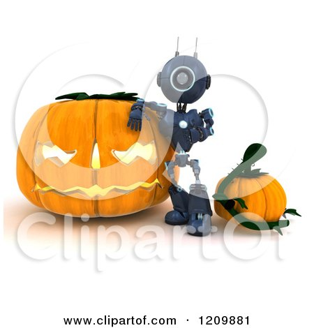 Clipart of a 3d Blue Android Robot Leaning on a Giant Halloween Jackolantern Pumpkin - Royalty Free CGI Illustration by KJ Pargeter