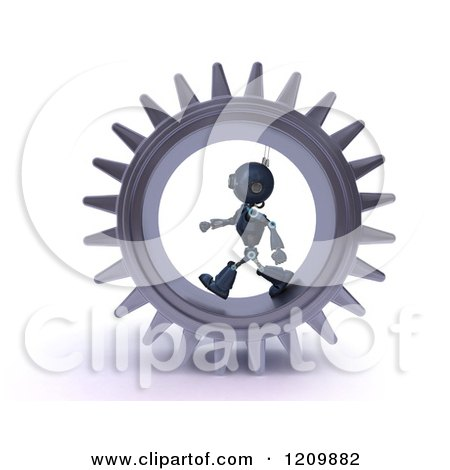 3d Blue Android Robot Walking in a Gear Posters, Art Prints