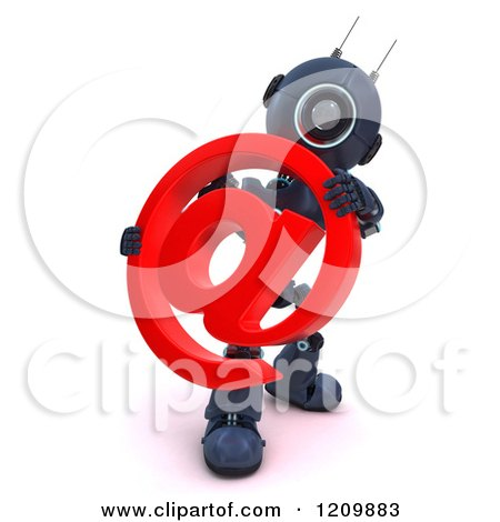 Clipart of a 3d Blue Android Robot Holding an Arobase Email Symbol - Royalty Free CGI Illustration by KJ Pargeter