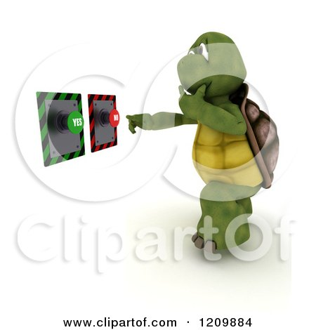 Clipart of a 3d Tortoise Deciding on Yes or No Buttons - Royalty Free CGI Illustration by KJ Pargeter