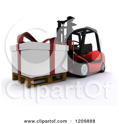 Clipart of a 3d Christmas Delivery Gift Present on a Red Forklift 2 - Royalty Free CGI Illustration by KJ Pargeter