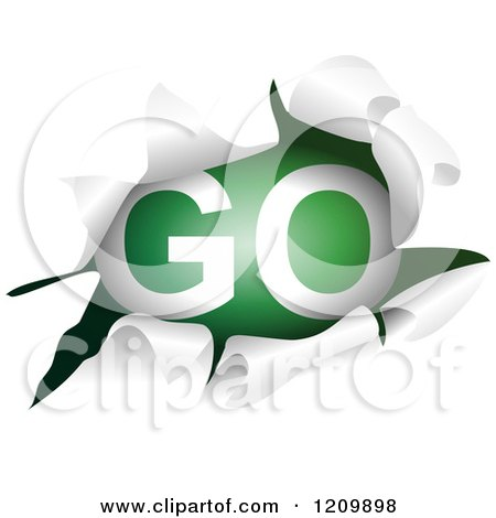 Clipart of a Go Sign Through a Ripped Hole - Royalty Free Vector Illustration by Prawny