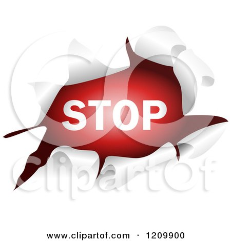 Clipart of a Stop Sign Through a Ripped Hole - Royalty Free Vector Illustration by Prawny