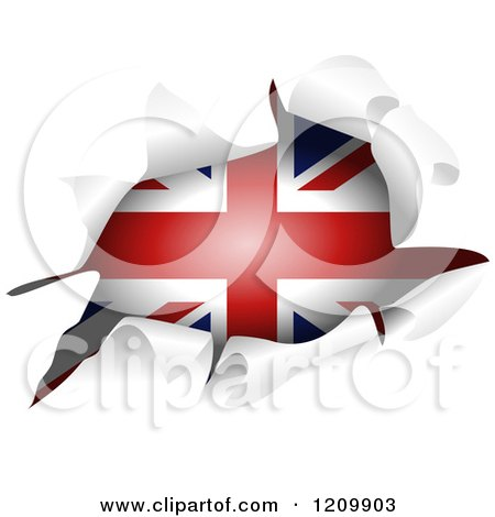 Clipart of a British Flag Through a Ripped Hole - Royalty Free Vector Illustration by Prawny