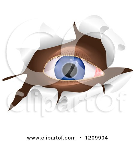 Clipart of a Blue Eye Looking Through a Ripped Hole - Royalty Free Vector Illustration by Prawny