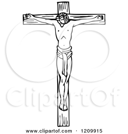 Clipart of a Black and White Scene of Jesus the Saviour on the ...