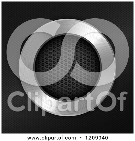 Clipart of a 3d Perforated Metal Circle and Chrome over Carbon Fiber - Royalty Free Vector Illustration by elaineitalia
