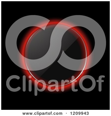Clipart of a Reflective Glowing Red Neon Glass Circle on Black - Royalty Free Vector Illustration by elaineitalia