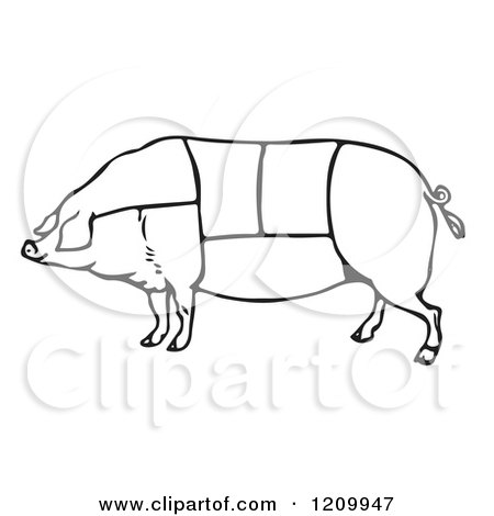 Clipart of a Black and White Pig with Butcher Sections of Meat Cuts - Royalty Free Vector Illustration by Picsburg