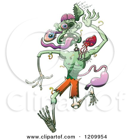 Cartoon of a Zombie Falling Apart - Royalty Free Vector Clipart by Zooco