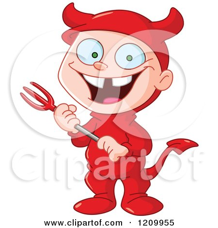 Cartoon of a Grinning Boy in a Devil Halloween Costume - Royalty Free Vector Clipart by yayayoyo
