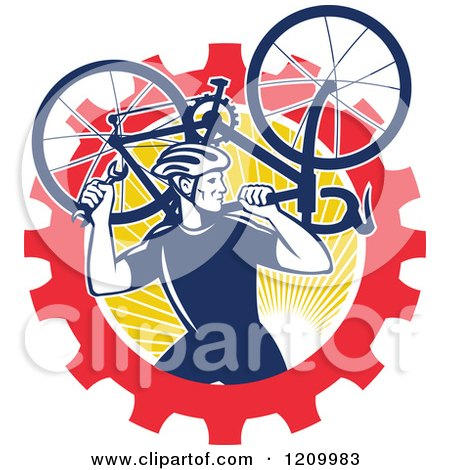 Clipart of a Retro Male Cyclist Carrying a Bicycle over a Gear and Sun Circle - Royalty Free Vector Illustration by patrimonio