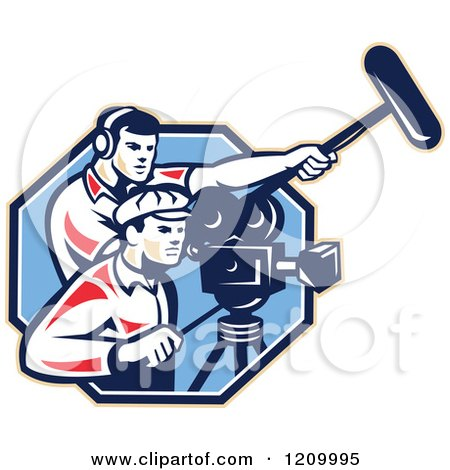 Clipart of a Retro Camera Man Team with Gear - Royalty Free Vector Illustration by patrimonio