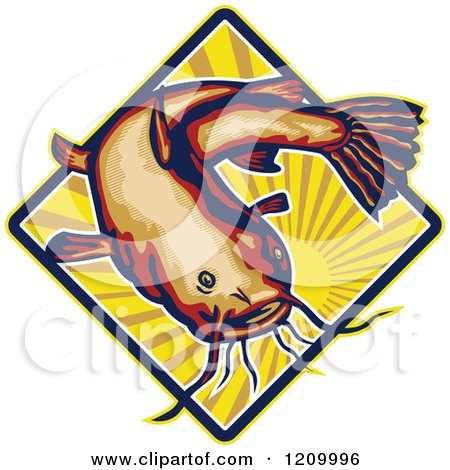 Clipart of a Retro Ray Finned Catfish over a Sun Burst Diamond - Royalty Free Vector Illustration by patrimonio
