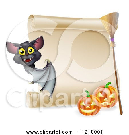 Cartoon of a Vampire Bat with a Halloween Scroll Sign a Broomstick and Pumpkins - Royalty Free Vector Clipart by AtStockIllustration
