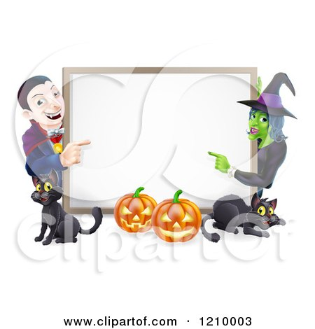 Cartoon of a Happy Vampire Witch Pumpkins and Black Cats Around a Blank Sign - Royalty Free Vector Clipart by AtStockIllustration