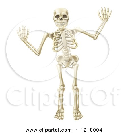 Cartoon Of A Happy Skeleton Waving With Both Hands