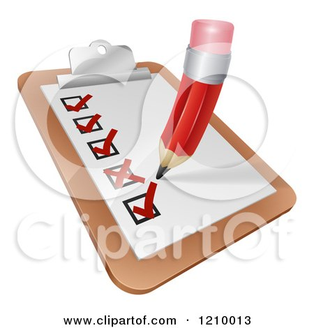 Cartoon of a Pencil Checking of a Survey Check List - Royalty Free Vector Clipart by AtStockIllustration